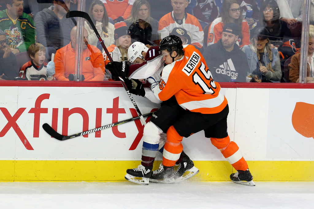 Philadelphia Flyers forward Jori Lehterä hits Matt Calvert against the Columbus Blue Jackets