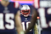 Former New England Patriots wide receiver Josh Gordon reacts after scoring a 55-yard touchdown against the Green Bay Packers