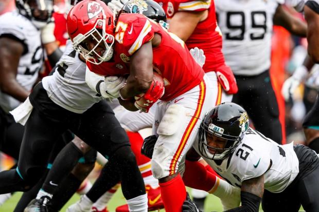 Former Kansas City Chiefs running back Kareem Hunt rushing the ball against the Jacksonville Jaguars