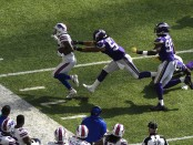 Former Buffalo Bills wide receiver Kelvin Benjamin is pushed out of bounds against the Minnesota Vikings