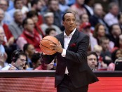 North Carolina State Wolfpack head coach Kevin Keatts watches his team against the North Carolina Tar Heels
