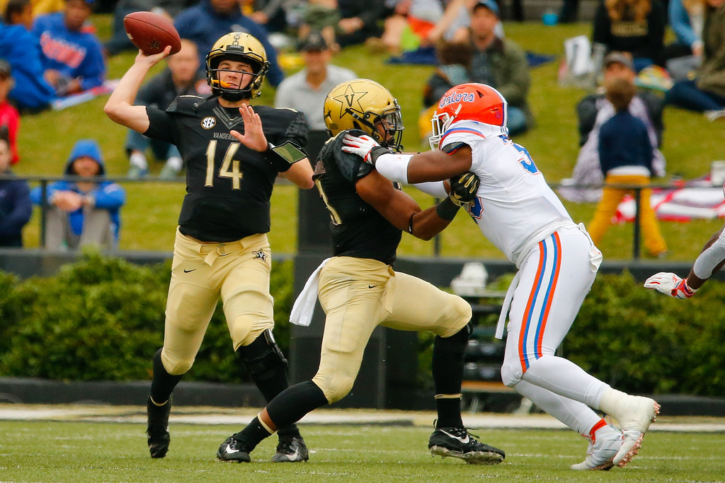 Vanderbilt Commodores quarterback Kyle Shurmur attempting a pass against the Florida Gators