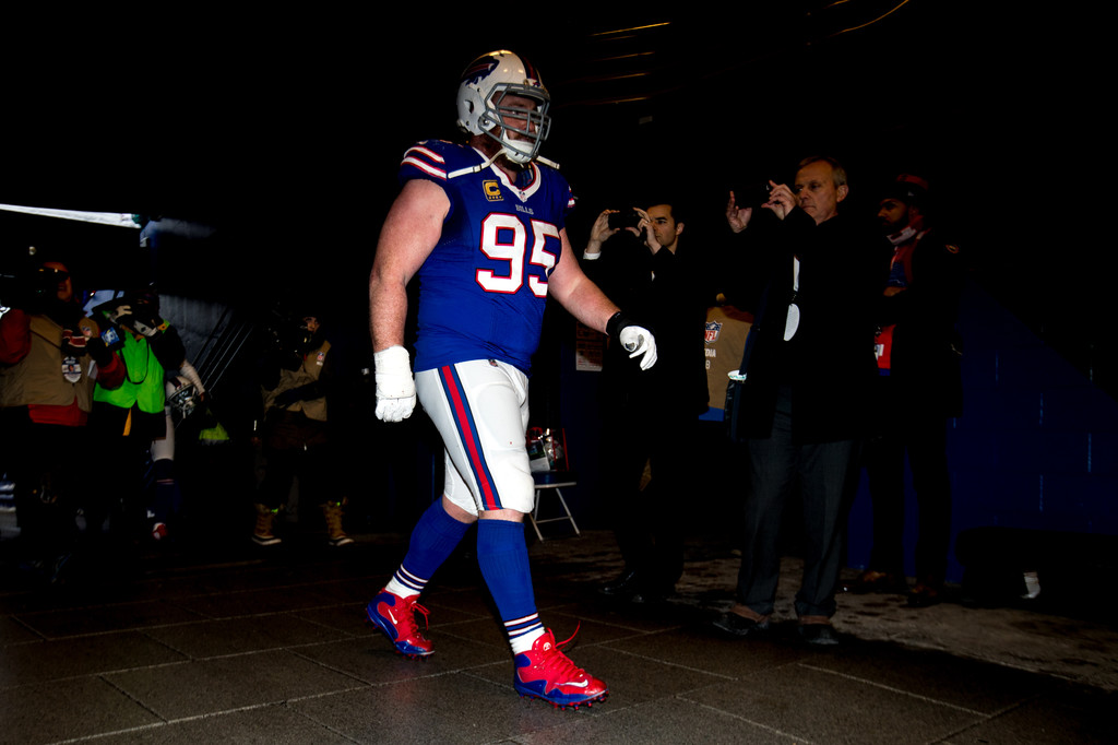 Buffalo Bills defensive lineman Kyle Williams wants into the locker room after playing against the Miami Dolphins