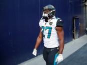 Jacksonville Jaguars running back Leonard Fournette walks onto the field before the AFC Championship game