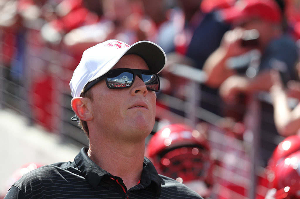 Former Houston Cougars head coach Major Applewhite looks on against the Arizona Wildcats