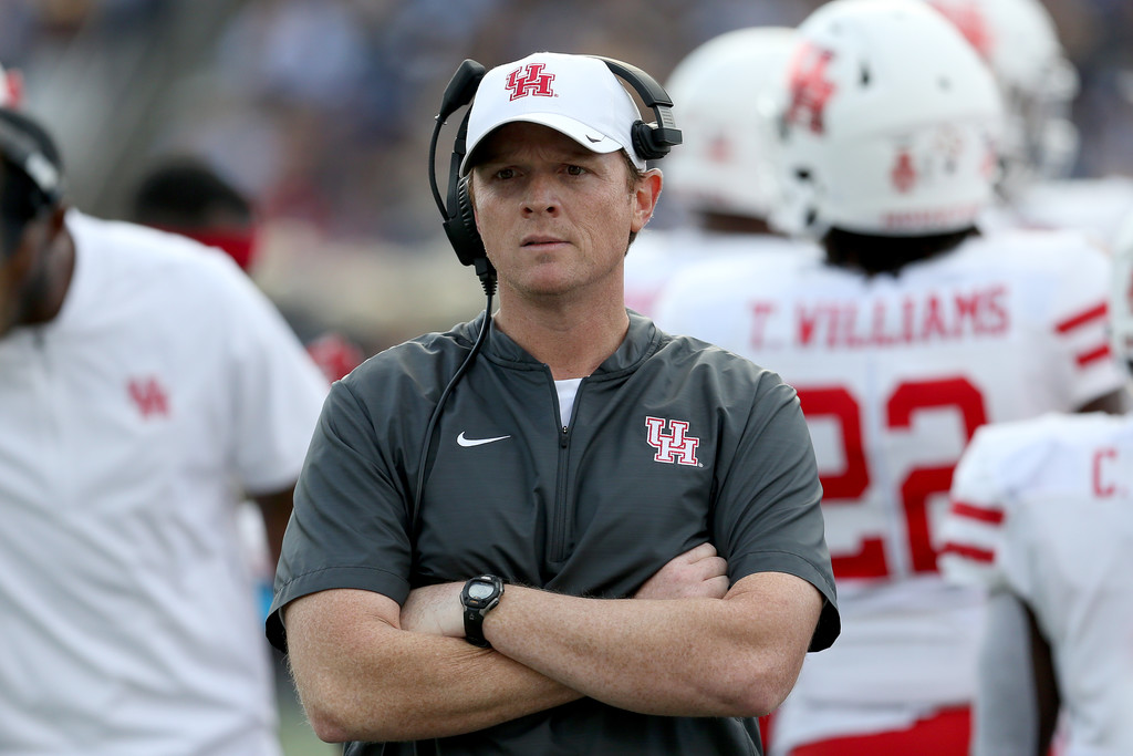 Houston Cougars head coach Major Applewhite looks on against the Navy Midshipmen