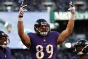 Baltimore Ravens tight end Mark Andrews celebrates a touchdown against the New Orleans Saints