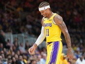 Los Angeles Lakers forward Michael Beasley walks off the court against the Golden State Warriors
