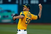 Oakland Athletics pitcher Mike Fiers pitching against the Minnesota Twins