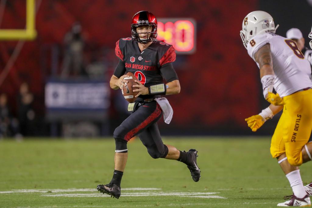 San Diego State Aztecs quarterback Ryan Agnew looks to throw the ball against the Arizona State Sun Devils