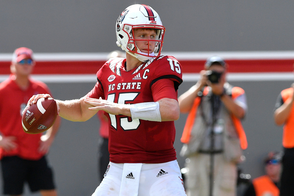 North Carolina State Wolfpack quarterback Ryan Finley attempts a pass against the Virginia Cavaliers