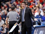 Former UCLA Bruins head coach Steve Alford reacts to a call against the St. Bonaventure Bonnies in the 2018 NCAA Men's Basketball Tournament