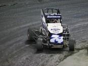 Micro Sprint driver Steve Buckwalter racing in the final qualifier