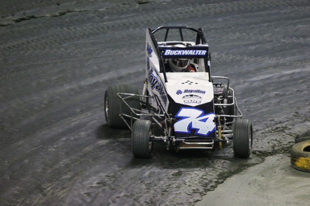 Micro Sprint driver Steve Buckwalter racing in the final qualifier
