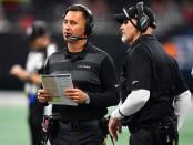 Atlanta Falcons Offensive Coordinator Steve Sarkisian on the field talking to head coach Dan Quinn against the Cincinnati Bengals