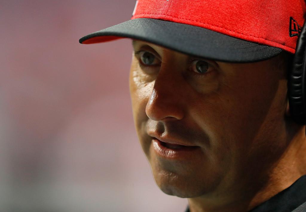 Atlanta Falcons Offensive Coordinator Steve Sarkisian looks on during a preseason game against the Miami Dolphins