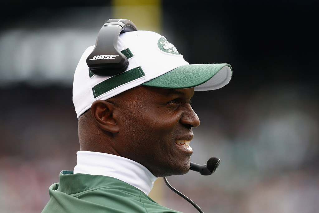 New York Jets head coach Todd Bowles looks on against the Indianapolis Colts