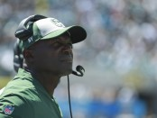 Former New York Jets head coach Todd Bowles looks on against the Jacksonville Jaguars