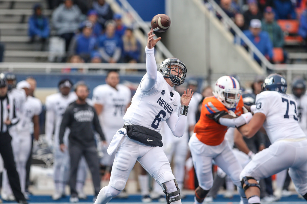 Nevada Wolf Pack quarterback Ty Gangi passes the ball against the Boise State Broncos