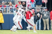 Former Ole Miss Rebels wide receiver A.J. Brown looks to make a catch against the Auburn Tigers