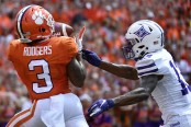 Clemson Tigers wide receiver Amari Rodgers making a reception against the Furman Paladins