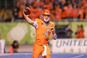 Boise State Broncos quarterback Brett Rypien attempting a pass against the Colorado State Rams