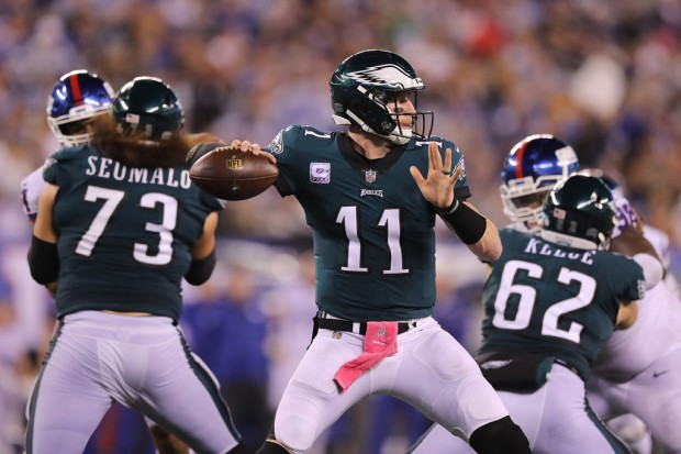 Philadelphia Eagles quarterback Carson Wentz attempting a pass against the New York Giants