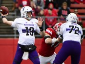 Northwestern Wildcats quarterback Clayton Thorson attempts a pass against the Rutgers Scarlet Knights