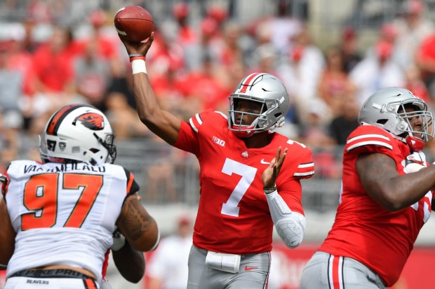 Ohio State Buckeyes quarterback Dwayne Haskins attempting a pass against the Oregon State Beavers