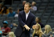 Former Chicago Bulls head coach Fred Hoiberg watches his team against the Charlotte Hornets