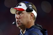 Former Ole Miss Rebels head coach Hugh Freeze looks on against the Memphis Tigers
