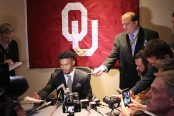 Publisher Anthony Caruso III interviewing Oklahoma Sooners quarterback Kyler Murray