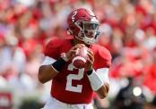 Alabama Crimson Tide quarterback Jalen Hurts looks to pass the football against the Louisiana Ragin' Cajuns
