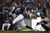 Former Milwaukee Brewers infielder Jonathan Schoop grounds out against the Colorado Rockies in the 2018 MLB Playoffs