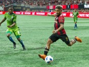 Atlanta United's Josef Martinez takes a shot against the Seattle Sounders FC