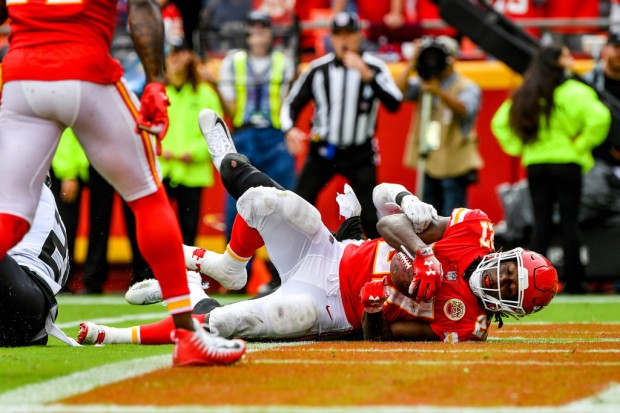 Former Kansas City Chiefs running back Kareem Hunt scoring a touchdown against the Jacksonville Jaguars