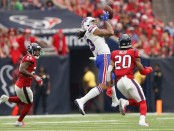 Former Buffalo Bills wide receiver Kelvin Benjamin catches a pass against the Houston Texans