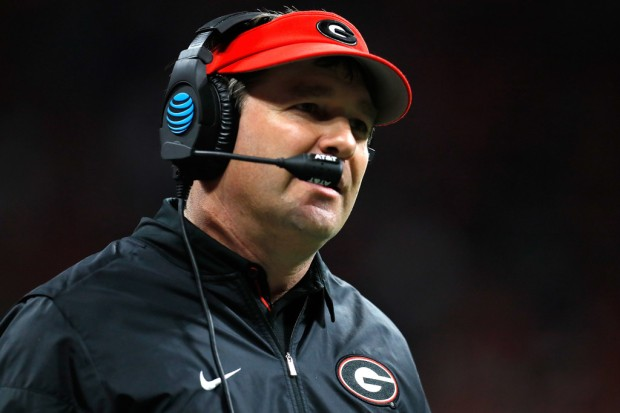Georgia Bulldogs head coach Kirby Smart coaching in the College Football Playoff National Championship game against Alabama in January 2018