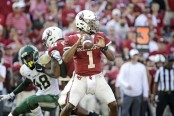 Oklahoma Sooners quarterback Kyler Murray attempting to pass the ball against the Baylor Bears