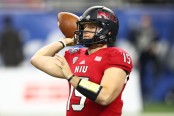 Northern Illinois Huskies quarterbackMarcus Childers throws a pass during the first half against the Duke Blue Devils in the Quick Lane Bowl