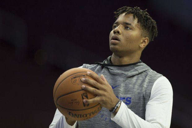 Philadelphia 76ers guard Markelle Fultz warms up before a game against the Melbourne United