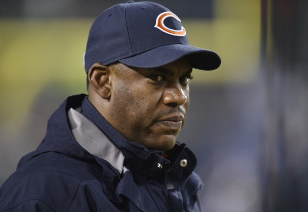 Former Chicago Bears defensive coordinator Mel Tucker on the field during pregame warm-ups against the New Orleans Saints