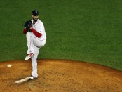 Boston Red Sox starting pitcher Rick Porcello pitching against the Houston Astros in the 2018 MLB playoffs