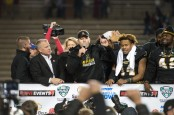 Former Appalachian State Mountaineers head coach Scott Satterfield talks to the fans after his team won the Raycom Media Camellia Bowl after defeating the Ohio Bobcats