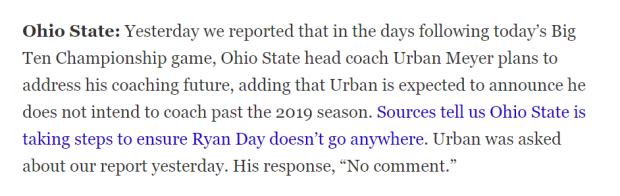 Here is the Ohio State Buckeyes head coach Urban Meyer report