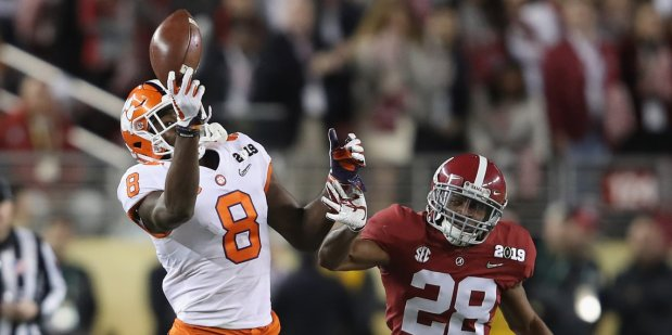 Clemson Tigers wide receiver Justyn Ross making a reception against the Alabama Crimson Tide in the 2019 College Football Playoff National Championship