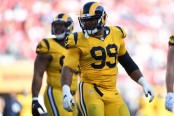 Los Angeles Rams defensive tackle Aaron Donald celebrates a play against the San Francisco 49ers