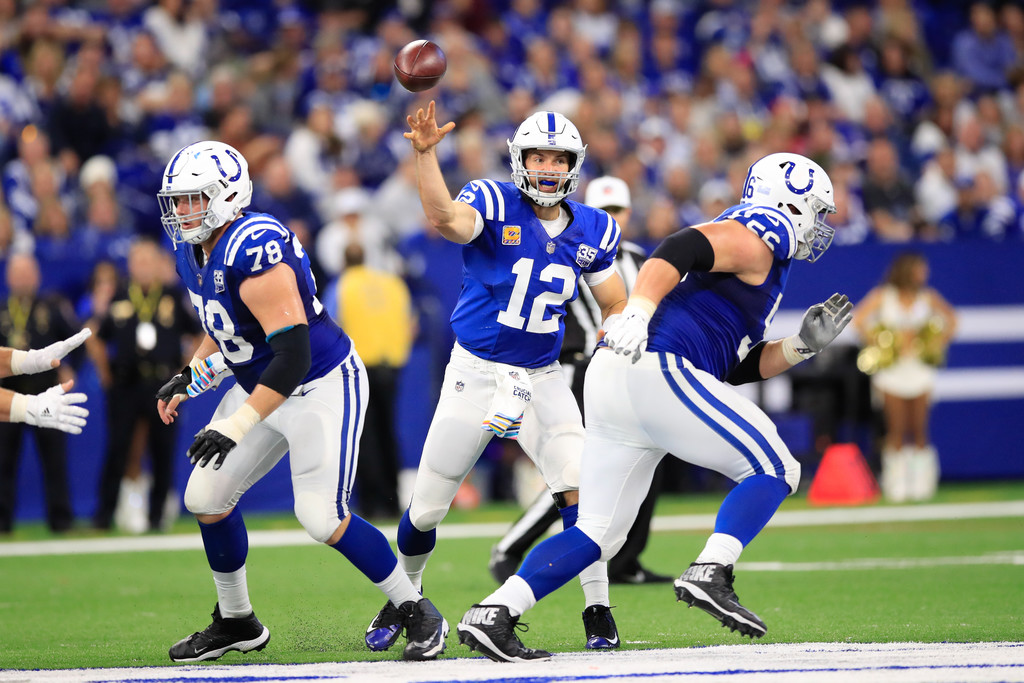 Indianapolis Colts quarterback Andrew Luck throws a pass against the Buffalo Bills