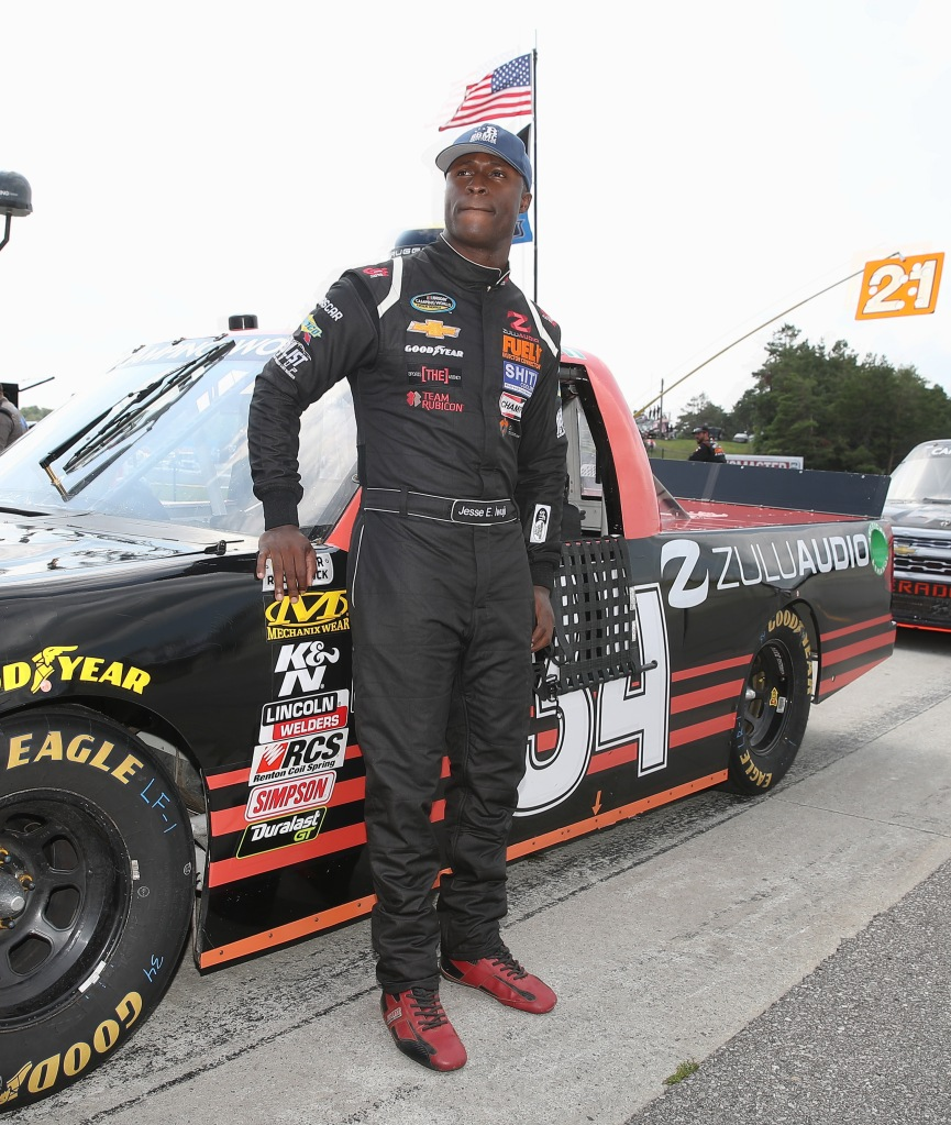NASCAR Camping World Truck Series driver Jesse Iwuji during pre-race festivities at the Chevrolet Silverado 250