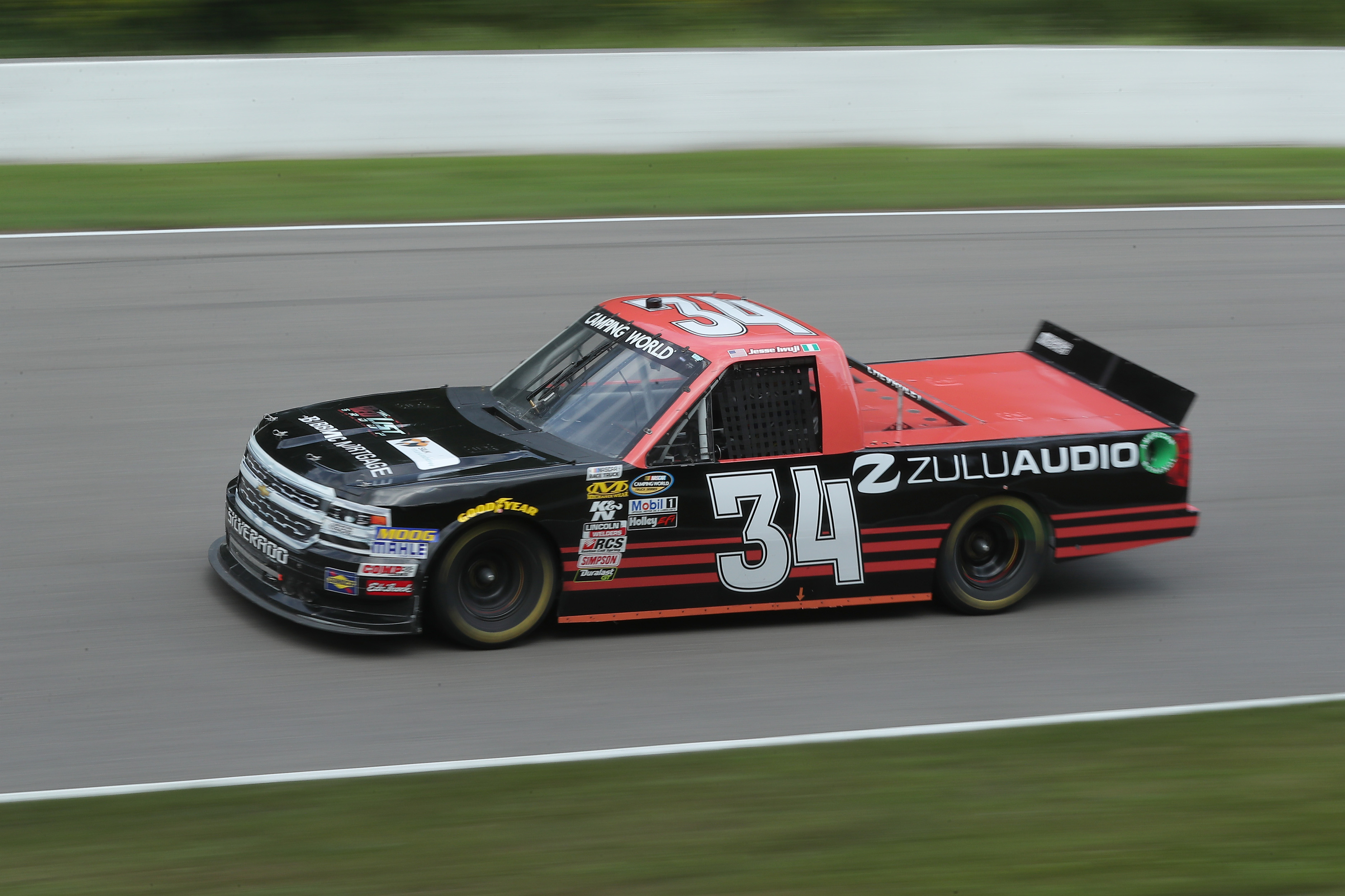 NASCAR Camping World Truck Series driver Jesse Iwuji racing in the Chevrolet Silverado 250